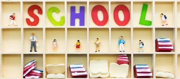 Miniature people: Group childrens at school. Image use for education concept.  Stock Image