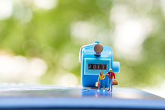 Miniature people lover on journey Royalty Free Stock Photography