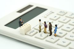 Miniature people Pay queue Annual income TAX for the year on calculator. using as background business concept and finance concep. T with copy space  for your Royalty Free Stock Photography