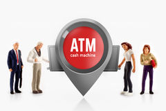 Miniature people  - people stand in front a ATM machine Stock Photography
