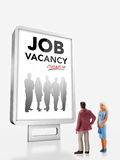 Miniature people  - people standing in front of a job recruitment billboard Stock Photos