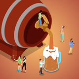 Miniature People Pouring Beer from Wooden Barrel vector illustration