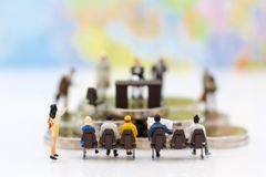 Miniature people: Recruiter interview applicants. Image use for background Choice of the best suited employee,. HR, HRM, HRD, job recruiter concepts Royalty Free Stock Photos