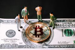 Miniature people small figures businessmen stand and looking Golden bitcoin on one hundred dollar banknote. stock photos