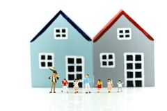 Miniature people : student and children with house,Education con. Cept royalty free stock photo