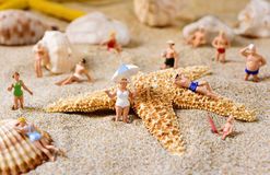 Miniature people in swimsuit on the beach. Some different miniature people wearing swimsuit relaxing next to some seashells and a starfish on the sand of the stock images