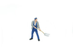 Miniature people Track workers concept on white background with Stock Image