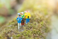 Miniature people : traveler walking on the roads are cluttered with grass. Used to travel to destinations. On travel business background concept Royalty Free Stock Photos