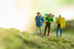Miniature people : traveler walking on the roads are cluttered with grass. Used to travel to destinations on travel business. Background concept Stock Photos