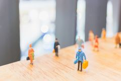 Miniature people : Travellers walking on The bridge. Holiday and Travel concept Stock Photography