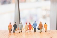 Miniature people : Travellers walking on The bridge. Holiday and Travel concept Royalty Free Stock Photos