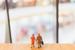 Miniature people : Travellers walking on The bridge. Holiday and Travel concept Royalty Free Stock Photography