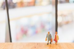 Miniature people : Travellers walking on The bridge. Holiday and Travel concept Royalty Free Stock Images