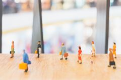 Miniature people : Travellers walking on The bridge. Holiday and Travel concept Royalty Free Stock Photo