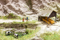 Miniature people: two woman standing on a mountain path and talking near grazing cows. Macro photo, shallow DOF. Royalty Free Stock Photography