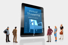 Miniature people  - Virtual shopping Royalty Free Stock Images