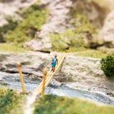 Miniature people: woman walking on the bridge. Macro photo, shallow DOF. Royalty Free Stock Photography