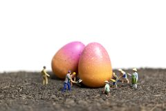 Miniature people work at Easter-eggs for Easter day. With white background royalty free stock photos