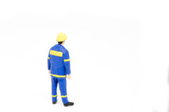 Miniature people worker construction concept on white background Stock Image