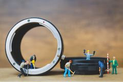 Miniature people : Worker team checking The pipe Royalty Free Stock Photography