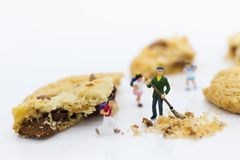 Miniature people : Workers use broom make clean of cookies. Image use for bakery business concept Stock Photos