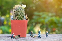 Miniature people working Stock Image