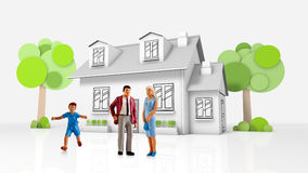 Miniature people  - a young family posing in front of their new house Royalty Free Stock Photos