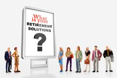A group of different age people are standing in front of a billboard with a question message about retirement solutions. Miniature peoples retirement concept, a stock images