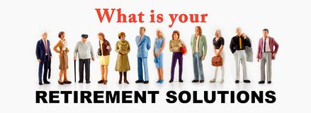 A group of different age people are standing in front of a billboard with a question message about retirement solutions. Miniature peoples retirement concept, a royalty free stock photo