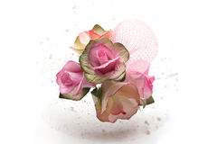 Miniature pink roses bouquet. Isolated on white background Stock Photography