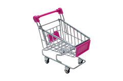 Miniature pink trolley supermarket isolated on white Royalty Free Stock Photos