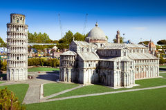 The miniature of Pisa city cahedral in Park of miniatures in Rimini, Italy Royalty Free Stock Photography