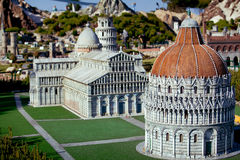 The miniature of Pisa city cahedral in Park of miniatures in Rimini, Italy Stock Photo