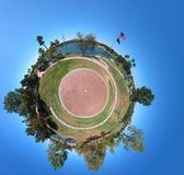 Miniature Planet. Little planet with lakes and meadows in a summer park Stock Images