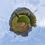 Miniature planet of valley between mountains Royalty Free Stock Photography