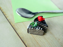 Miniature polymer clay strawberry and kiwi cake on the table Royalty Free Stock Image