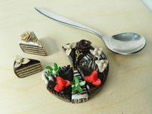 Miniature polymer clay strawberry and kiwi cake Royalty Free Stock Photography