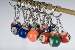 Miniature pool ball keyrings Royalty Free Stock Image