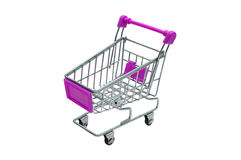 Miniature purple trolley supermarket isolated on white Stock Photos