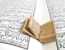 Miniature Quran. Old miniature Quran on a normal sized Quran Stock Photography