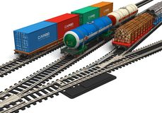 Miniature railroad models. Isolated on white background Royalty Free Stock Photo