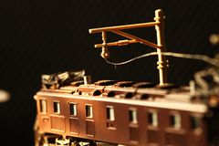 Miniature railroad toy model scene. royalty free stock photos