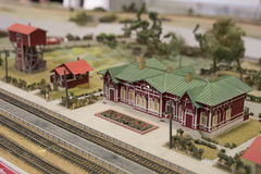 Miniature of railway station. Model of retro railroad station Royalty Free Stock Photos