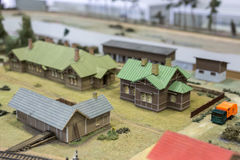 Miniature of railway station. Model of retro railroad station Stock Photography