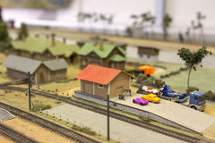 Miniature of railway station. Model of retro railroad station Stock Images