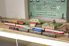 Miniature of railway station. Model of retro railroad station Royalty Free Stock Photography