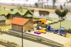 Miniature of railway station. Model of retro railroad station Royalty Free Stock Image