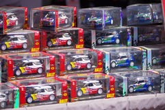 Miniature rally cars Stock Photos