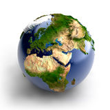 Miniature real Earth. A miniature model of the Earth with an exaggerated natural topography royalty free illustration