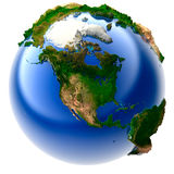 Miniature real Earth. 3D model of the globe with an exaggerated vertical relief royalty free illustration